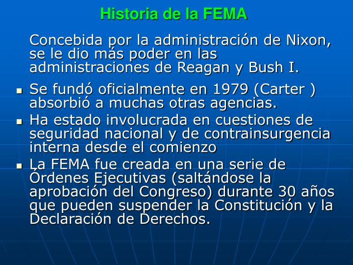Historia de la FEMA