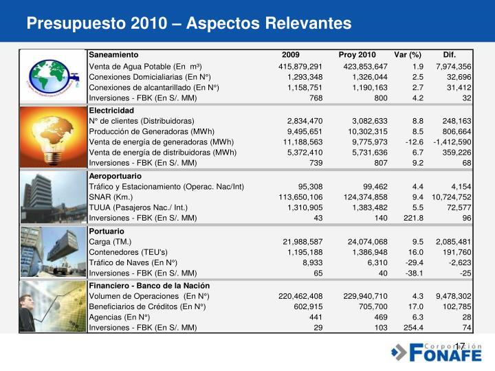 Presupuesto 2010 – Aspectos Relevantes