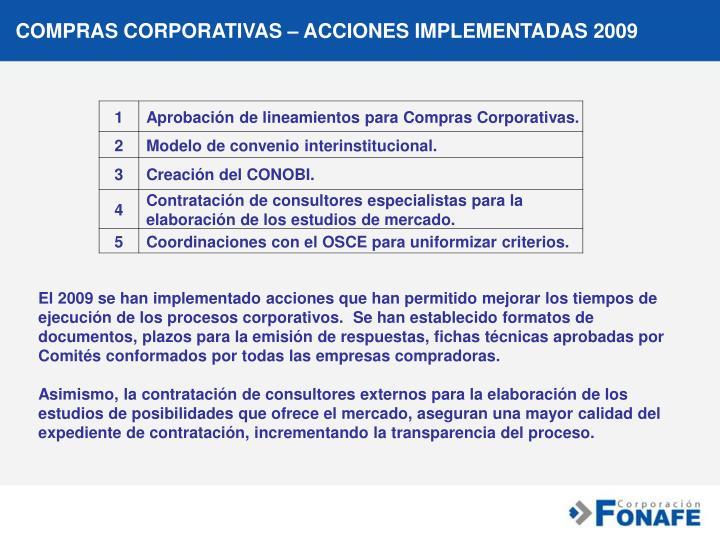 COMPRAS CORPORATIVAS – ACCIONES IMPLEMENTADAS 2009