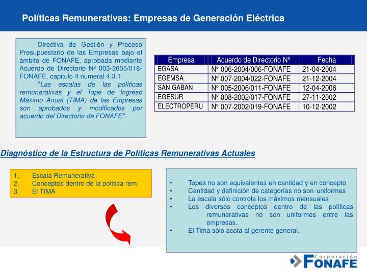 Políticas Remunerativas: Empresas de Generación Eléctrica