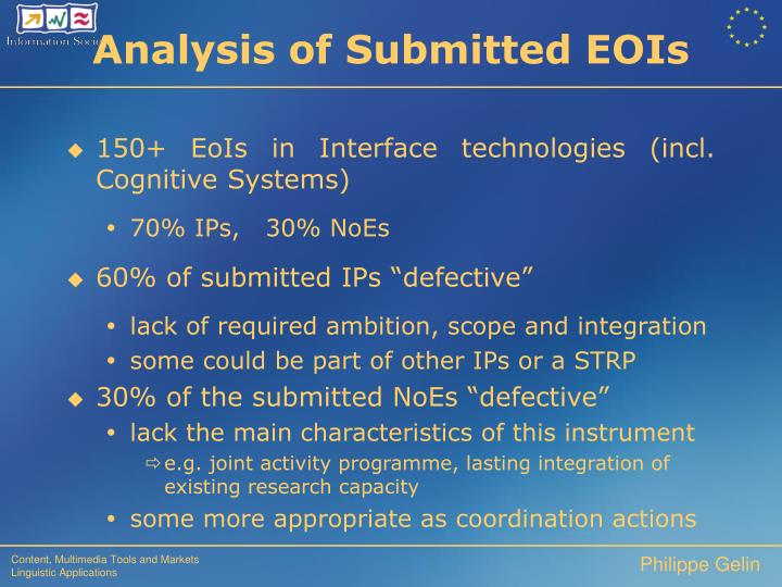 150+ EoIs in Interface technologies (incl. Cognitive Systems)