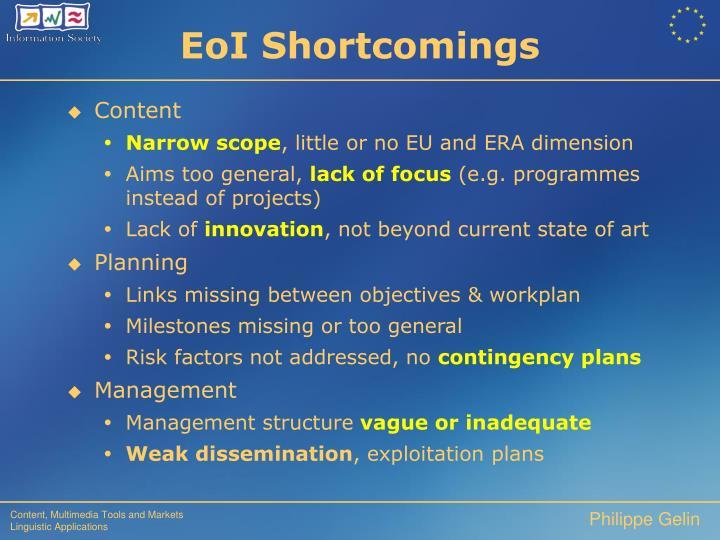 EoI Shortcomings