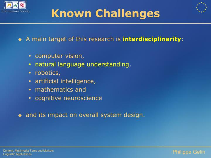 Known Challenges