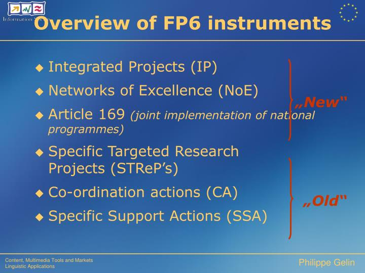 Overview of FP6 instruments