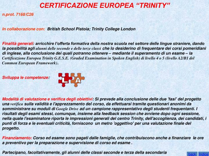 """CERTIFICAZIONE EUROPEA """"TRINITY"""""""