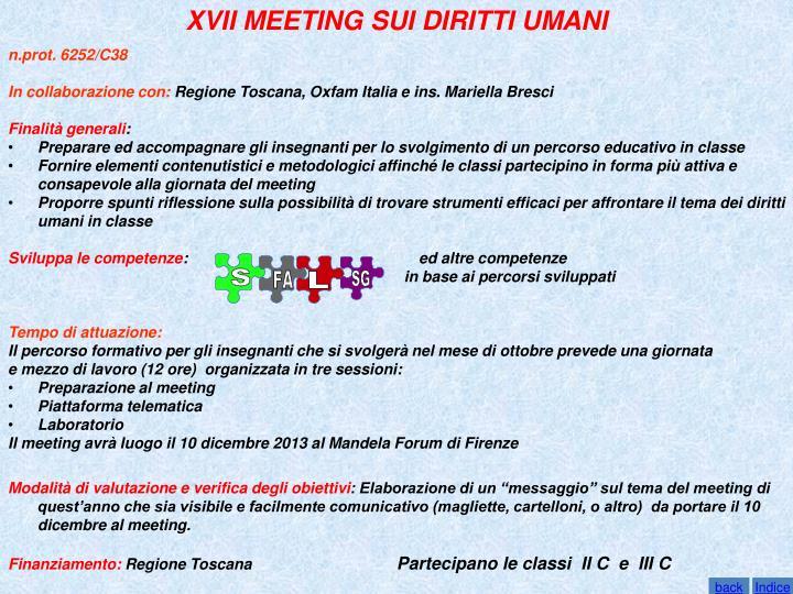 XVII MEETING SUI DIRITTI UMANI