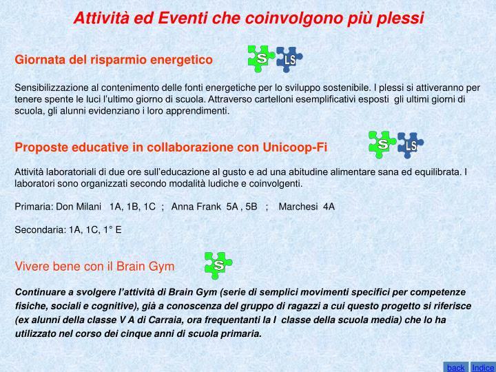 Attività ed Eventi che coinvolgono più plessi