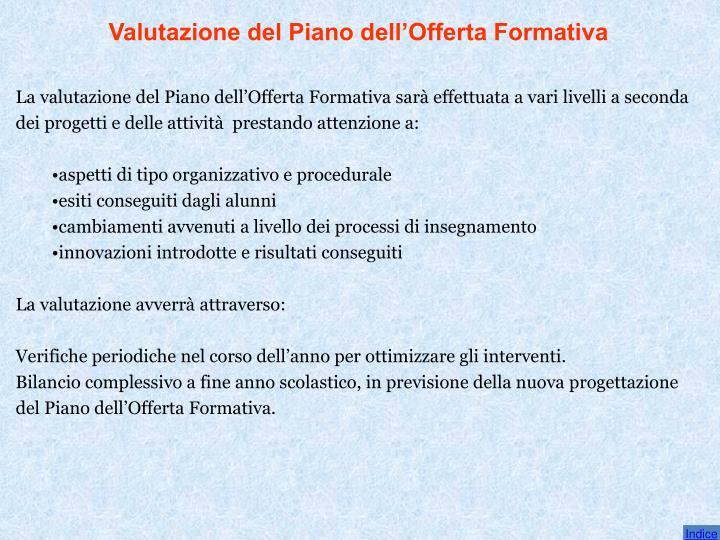 Valutazione del Piano dell'Offerta Formativa