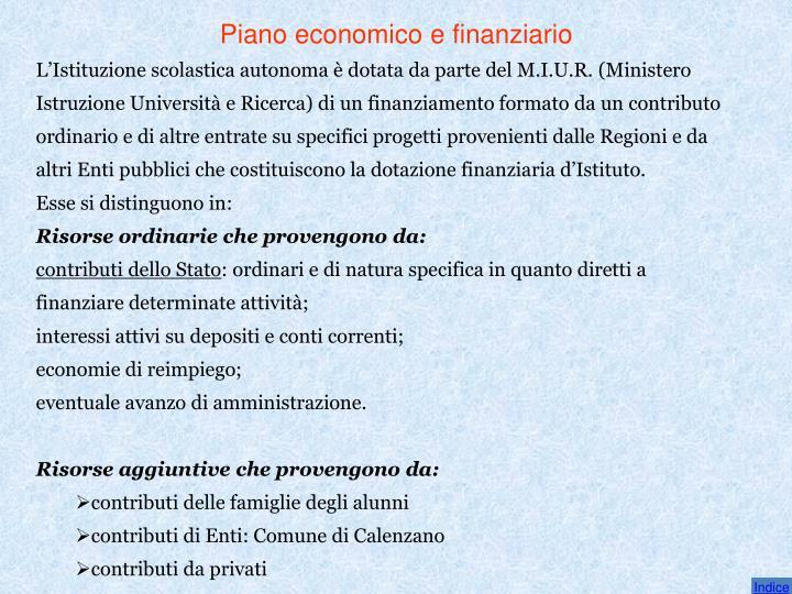 Piano economico e finanziario