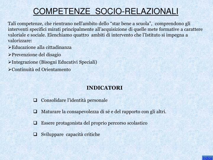 COMPETENZE  SOCIO-RELAZIONALI