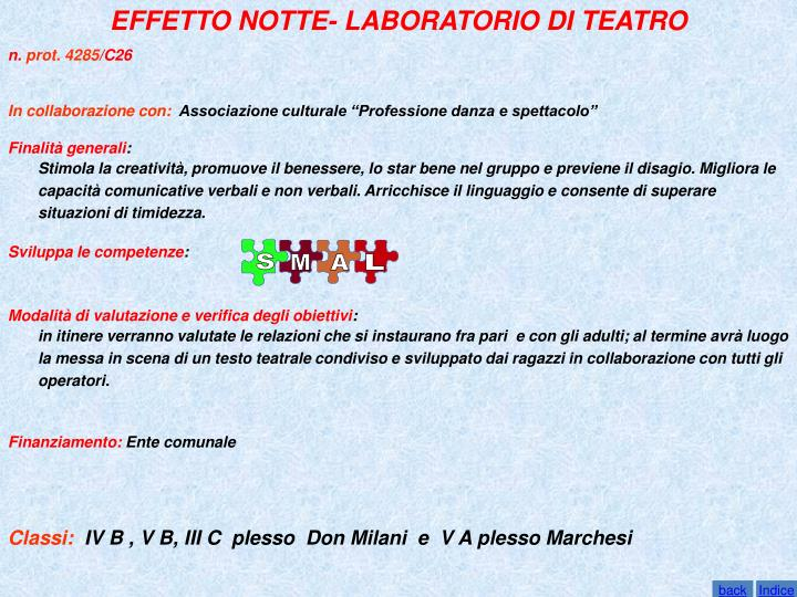 EFFETTO NOTTE- LABORATORIO DI TEATRO