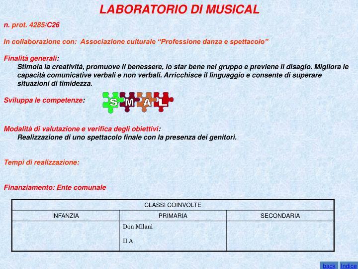 LABORATORIO DI MUSICAL
