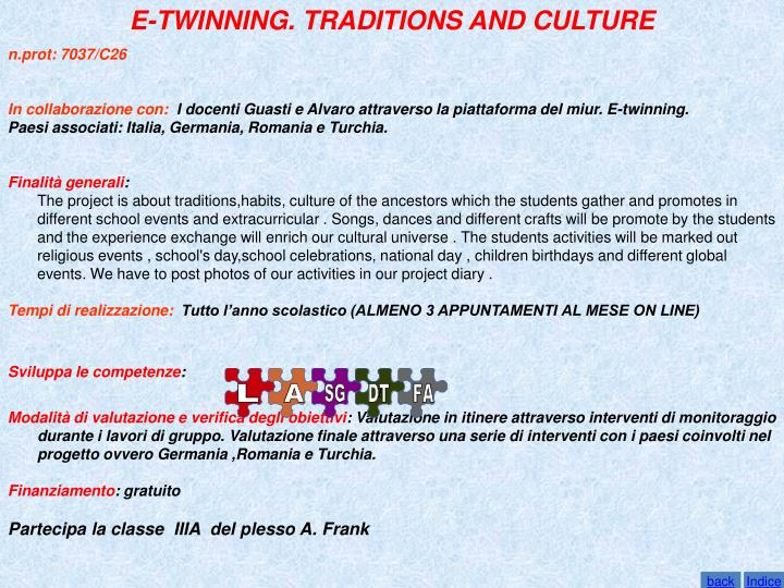 E-TWINNING. TRADITIONS AND CULTURE