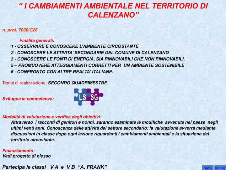 """"""" I CAMBIAMENTI AMBIENTALE NEL TERRITORIO DI CALENZANO"""""""