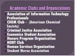 academic clubs and organizations