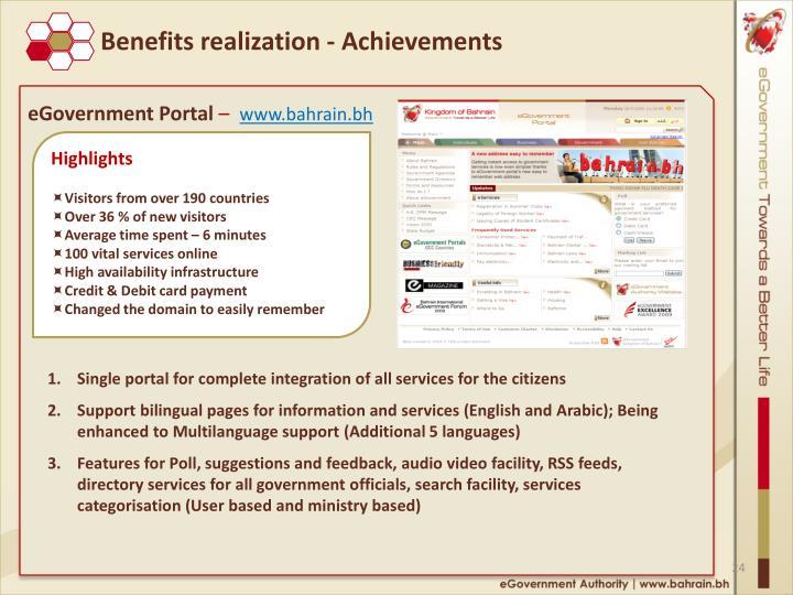 Benefits realization - Achievements