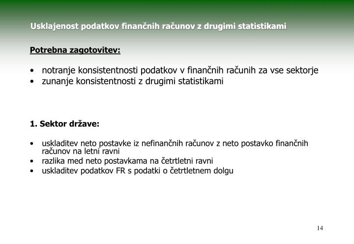 Usklajenost podatkov finančnih računov z drugimi statistikami