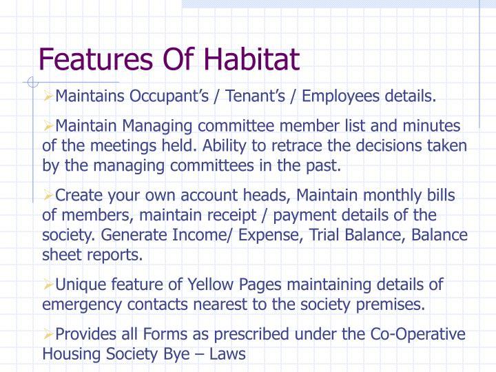 Features of habitat