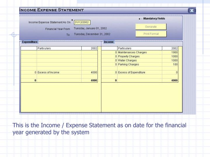 This is the Income / Expense Statement as on date for the financial year generated by the system