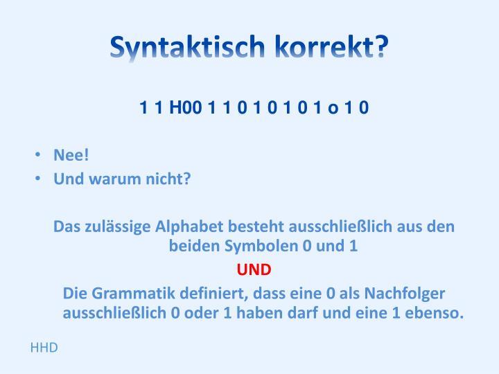 Syntaktisch korrekt?