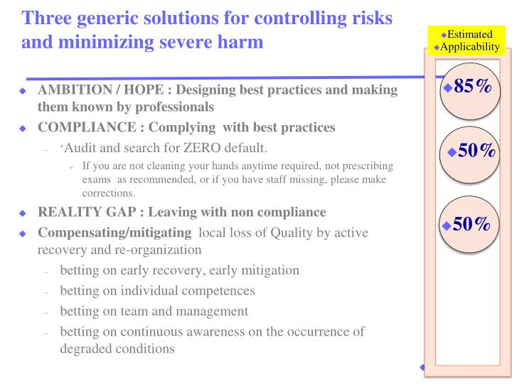 Three generic solutions for controlling risks and minimizing severe harm