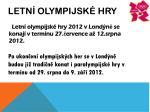 letn olympijsk hry