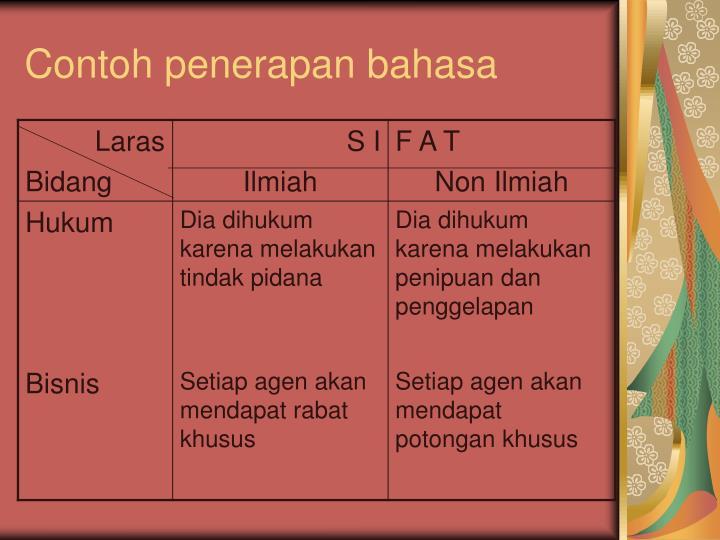 Contoh penerapan bahasa