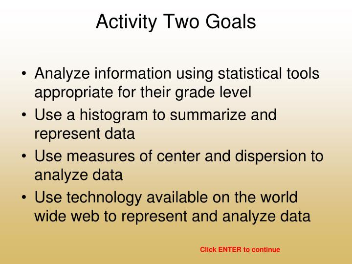 Activity Two Goals