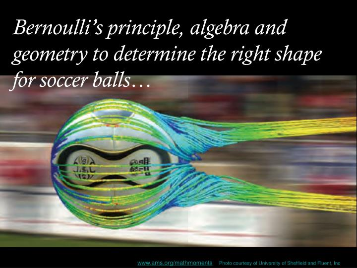 Bernoulli's principle, algebra and geometry to determine the right shape for soccer balls…