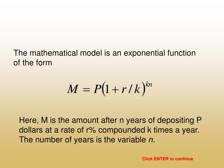 The mathematical model is an exponential function of the form