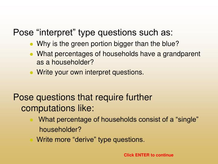 "Pose ""interpret"" type questions such as:"