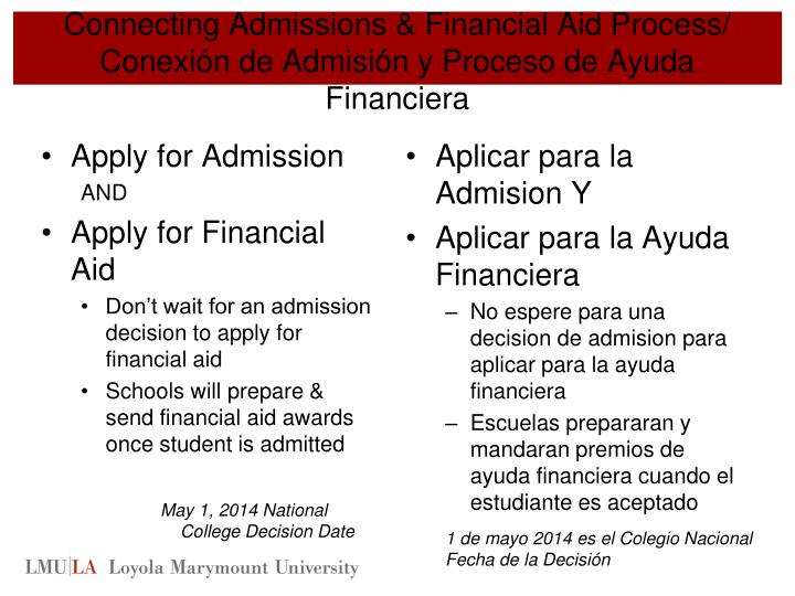 Connecting Admissions & Financial Aid Process/