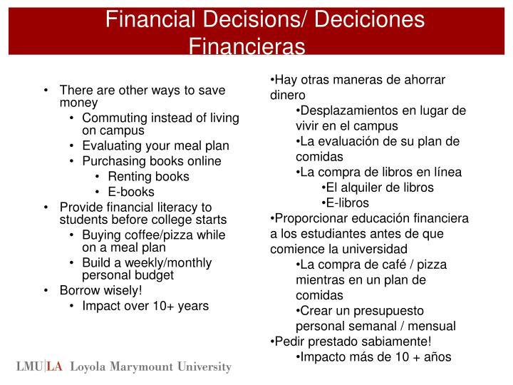 Financial Decisions/