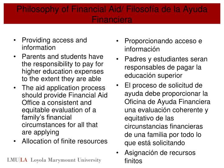 Philosophy of Financial Aid/