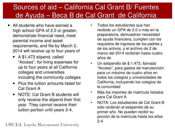 Sources of aid – California Cal Grant B/ Fuentes de