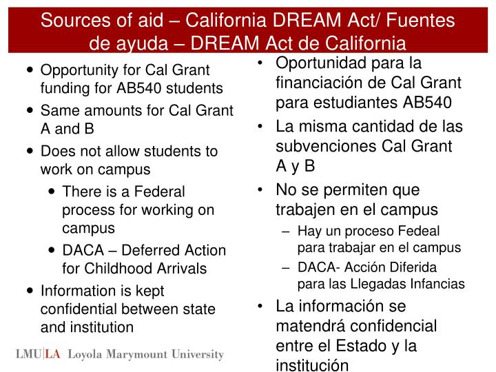Sources of aid – California DREAM Act/ Fuentes de
