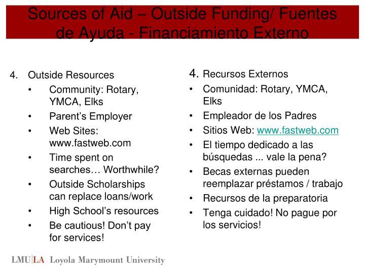 Sources of Aid – Outside Funding/ Fuentes de