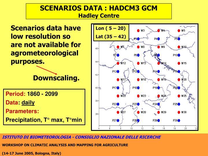 SCENARIOS DATA : HADCM3 GCM