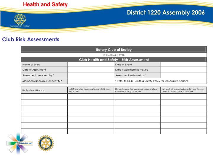 Club Risk Assessments