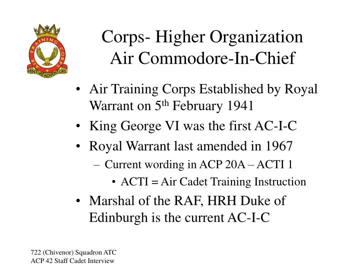 Corps- Higher Organization