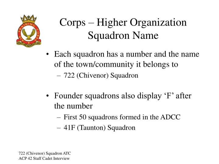 Corps – Higher Organization