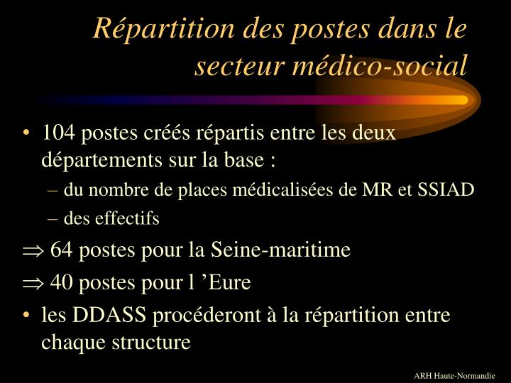 Répartition des postes dans le secteur médico-social