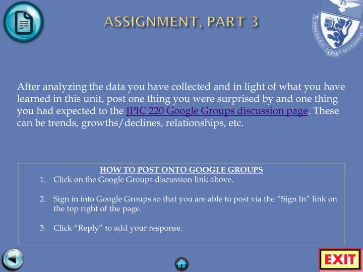 ASSIGNMENT, PART 3