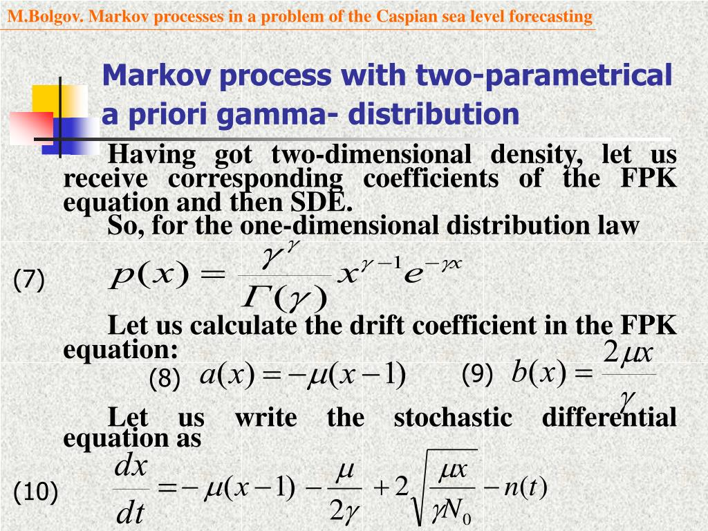 PPT - Markov processes in a problem of the Caspian sea level