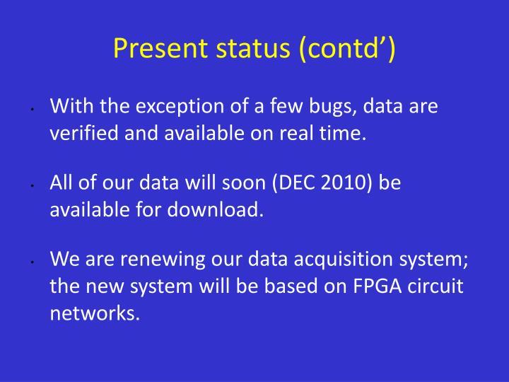 Present status (contd')