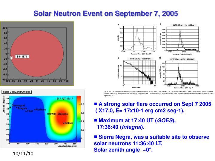 Solar Neutron Event on September 7, 2005