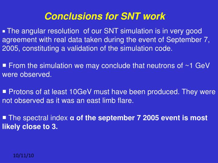 Conclusions for SNT work