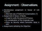 assignment observations