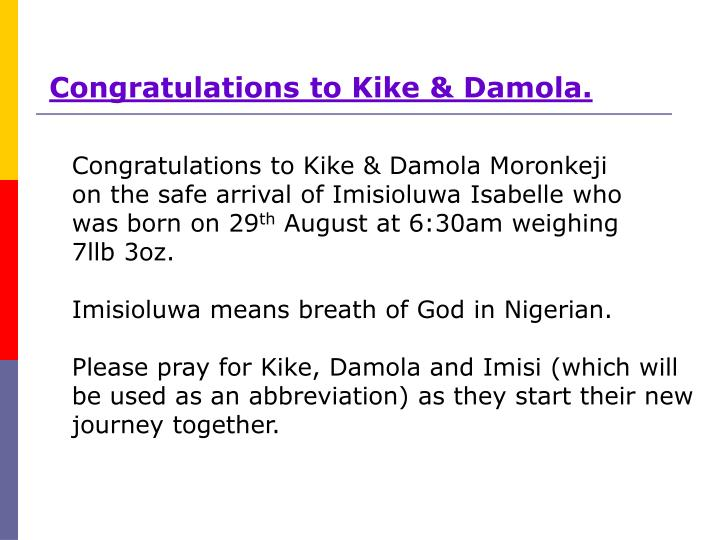 Congratulations to Kike & Damola.