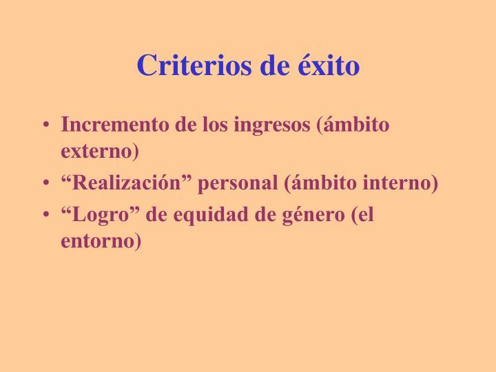 Criterios de éxito